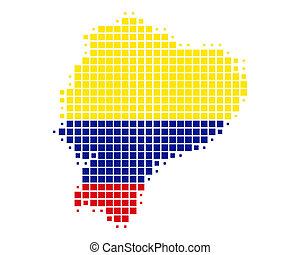 mapa, bandera, ecuador