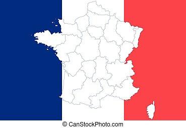 mapa, bandera, francja