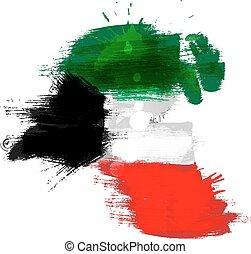 mapa, bandera, grunge, kuwait