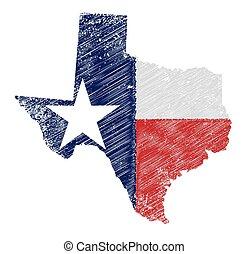 mapa, bandera, grunge, texas