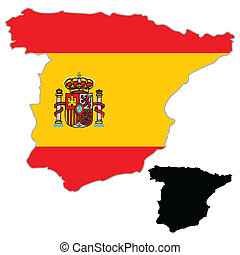 mapa, bandera, hiszpania