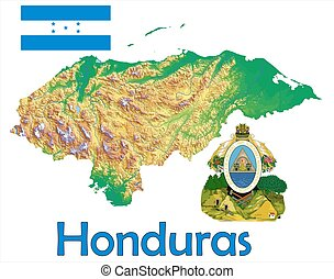mapa, bandera,  honduras, chamarra