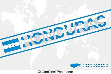 mapa, bandera,  honduras, Ilustración, texto