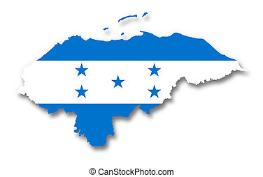 mapa, bandera,  honduras