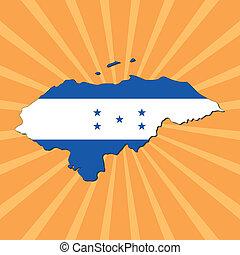 mapa, bandera,  honduras,  Sunburst
