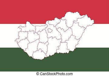 mapa, bandera, hungría