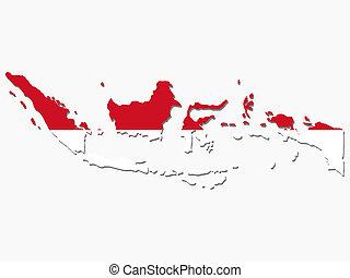 mapa, bandera, indonesia