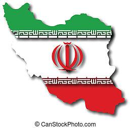 mapa, bandera, irán