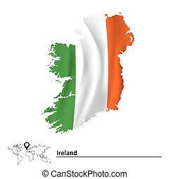 mapa, bandera, irlanda