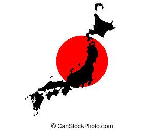 mapa, bandera, japończyk, japonia