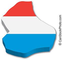 mapa, bandera, luxemburgo, 3d
