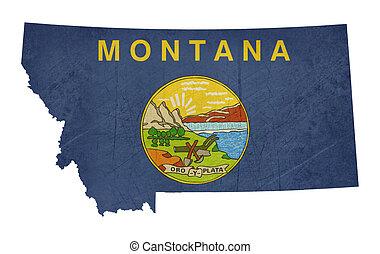 mapa, bandera, montana, grunge, estado