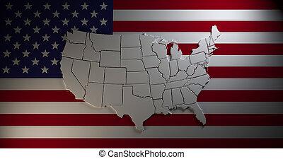 mapa, bandera nacional, estados unidos de américa, fondo.