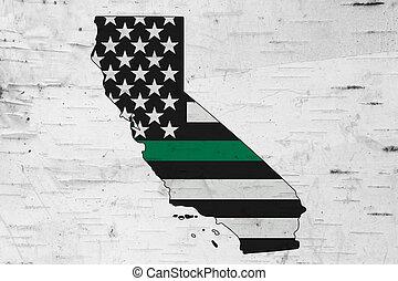 mapa, bandera, norteamericano, california, delgado, verde, ...