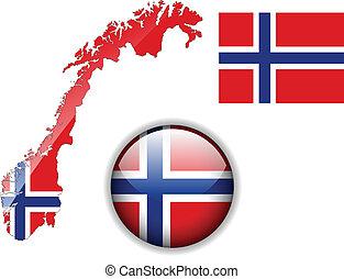 mapa, bandera, noruega, button., brillante