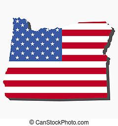 mapa, bandera, oregón