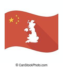 mapa, bandera, porcelana, odizolowany, uk