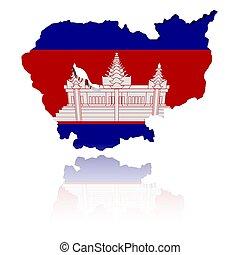mapa, bandera, reflexión, camboya