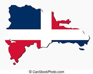 mapa, bandera, república, dominicano