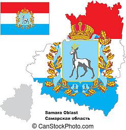 mapa, bandera, samara, contorno, oblast