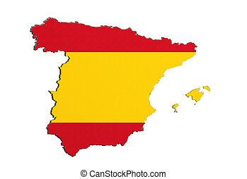 mapa, bandera, silueta, españa