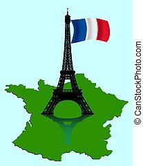mapa, bandera, torre eiffel, francia