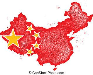 mapa, bandera, vector, grunge, china