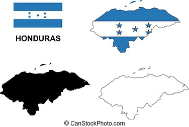 mapa, bandera,  vector,  honduras