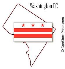 mapa, bandera, washington dc