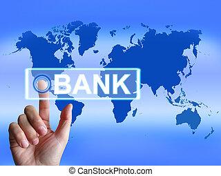mapa, bankowość online, wskazuje, internetowy bank