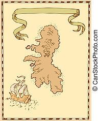 mapa, barco, isla del tesoro, alto