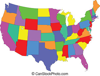 mapa, barwny, usa