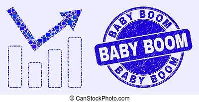mapa, bebê, tendência, crescimento, selo, azul, arranhado, mosaico