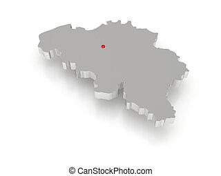 mapa, belgium., tridimensional