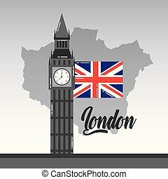 mapa, ben, grande, bandera inglesa, londres, señal