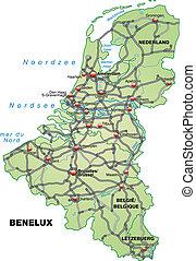 mapa, benelux