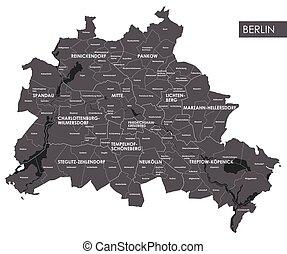 mapa, berlin, wektor, okręg