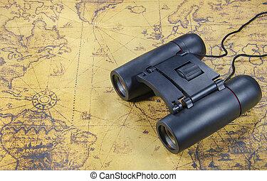mapa, binocular, mundo velho