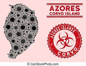 mapa, biohazard, coronavirus, mosaico, isla, textured, corvo, sellos