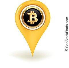 mapa, bitcoin, szpilka