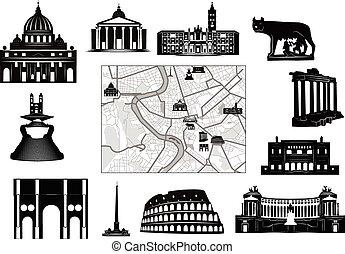 mapa, blanco y negro, hallmarks, rome.