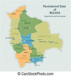 mapa, bolívia, administrativo