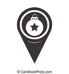 mapa, bola, ornamento, ponteiro, natal, ícone