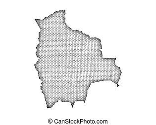 mapa, bolivia velho, linho