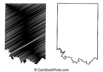 mapa, bosquejo, unido, (counties, condado, américa, us),...