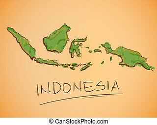 mapa, bosquejo, vector, indonesia