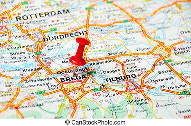 mapa, breda, holanda