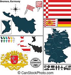mapa, bremen, alemania