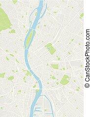 mapa, budapest, vector, coloreado