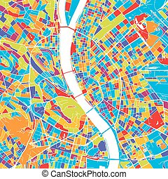 mapa, budapest, vector, colorido